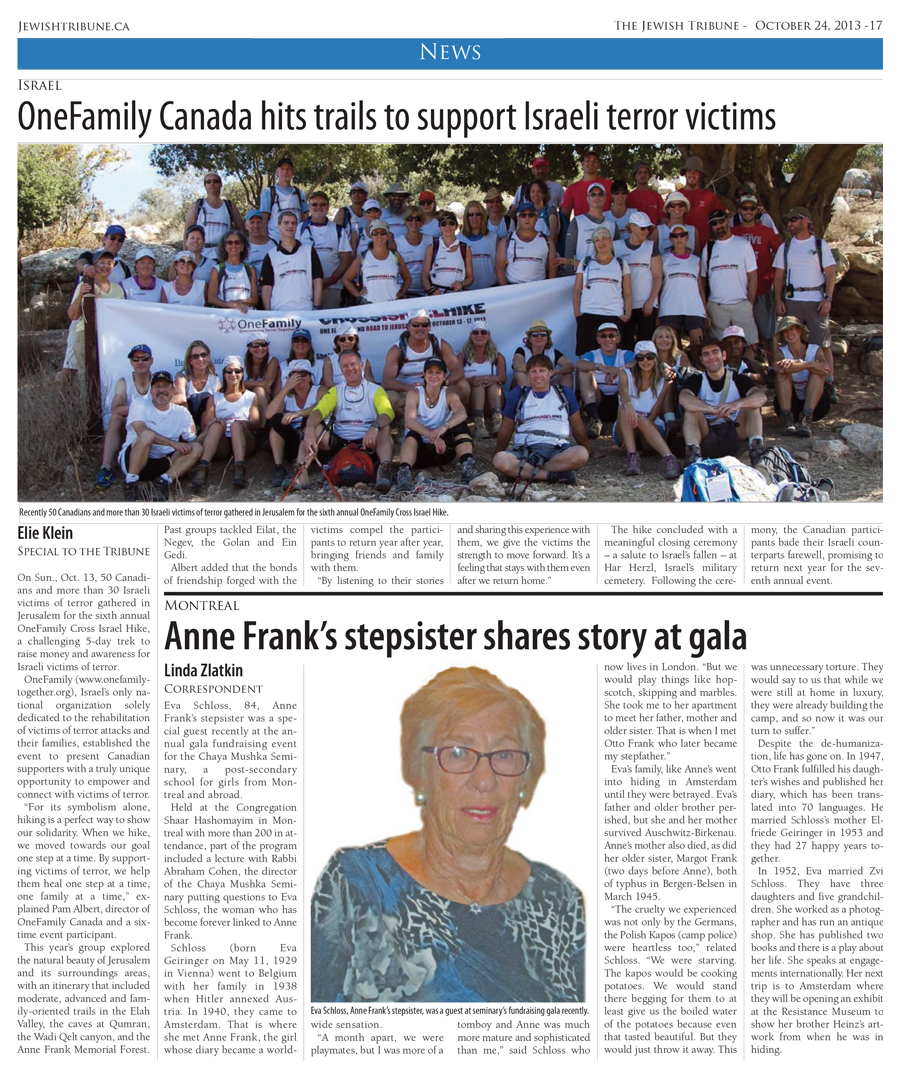 OneFamily Canada hits trails to support Israeli terror victims